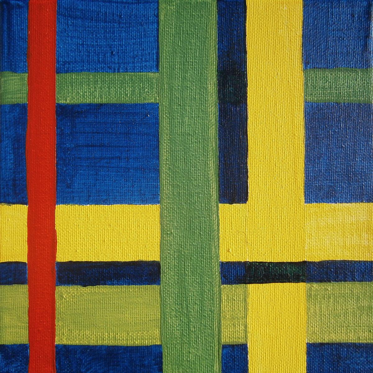 Komposition mit Rot, Nr. 1, Acryl auf Leinwand, 20 x 20 cm