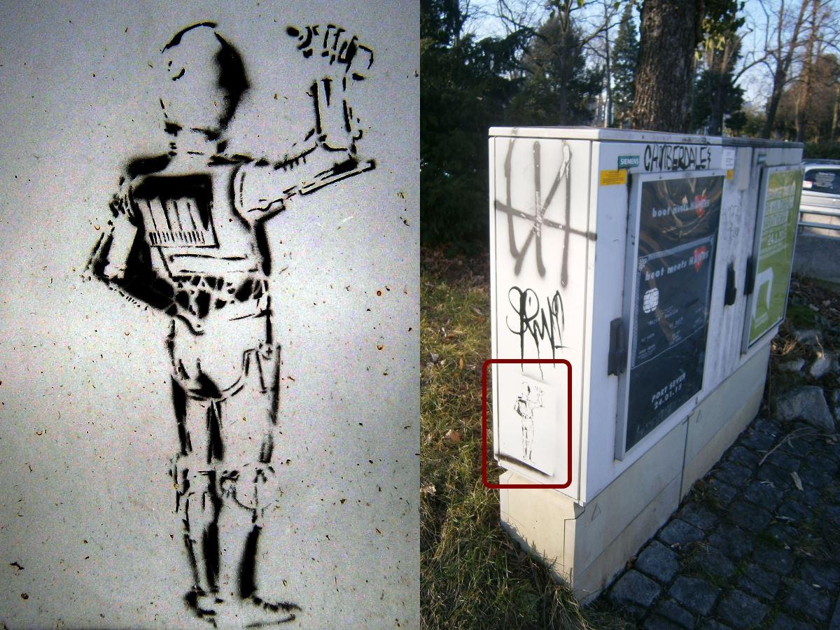 C3PO (Stencil, Sprühfarbe auf Verteilerkasten)