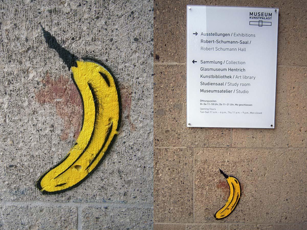 Thomas Baumgärtel: Warhol Banane (Stencil, Sprühfarbe)