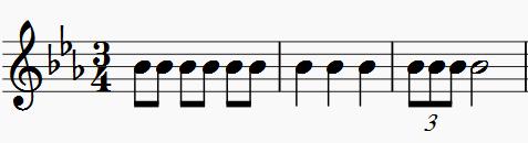 """Grundrhythmus in """"Zakk, Zakk"""" (c-Moll), Düsseldorfer Menuette"""