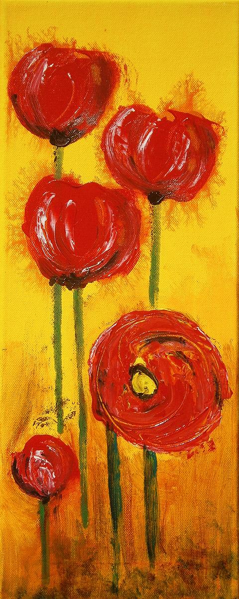 Mohn, Acryl auf Leinwand, 50 x 20 cm