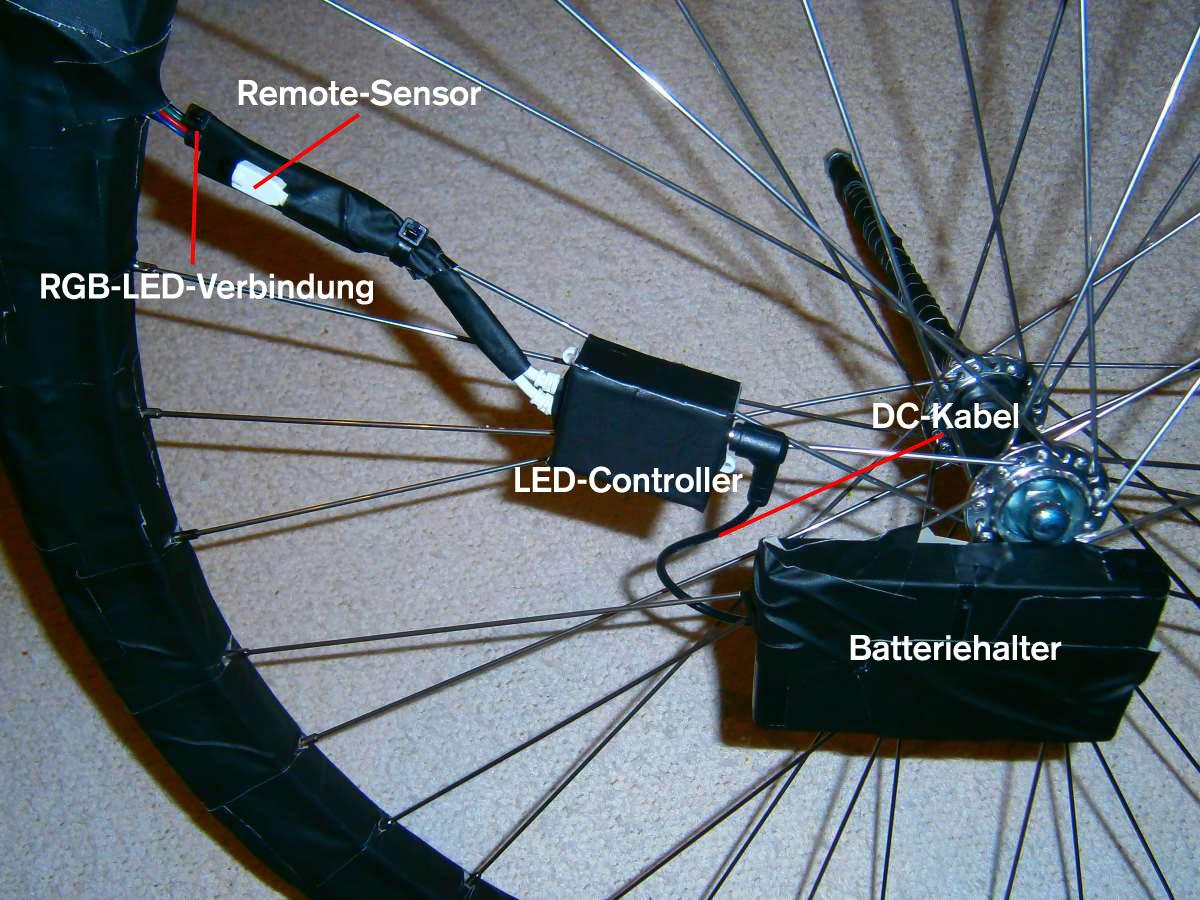 Endmontage von Batteriefach, DC-Kabel und LED-Controller