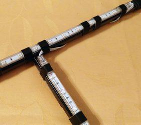 Detailansicht des Rahmens mit den darauf angebrachten LED-Leisten